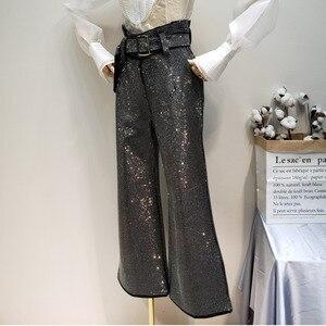 Image 2 - LANMREM 2018 ใหม่แฟชั่น Rhinestone สูงเอวลูกไม้ผ้าฝ้ายหลวมขากว้างกางเกงสีดำกางเกงหญิง YG09101