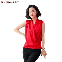 BOoDinerinle Elegant Women Summer Blouse Chiffon V neck Red Blouse Women Plus Size Sleeveless Slim Office Blouse Tops For Women