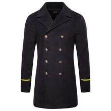 2019 Autumn And Winter New Mens Coat Boutique Wool Woolen Long Windbreaker Jacket