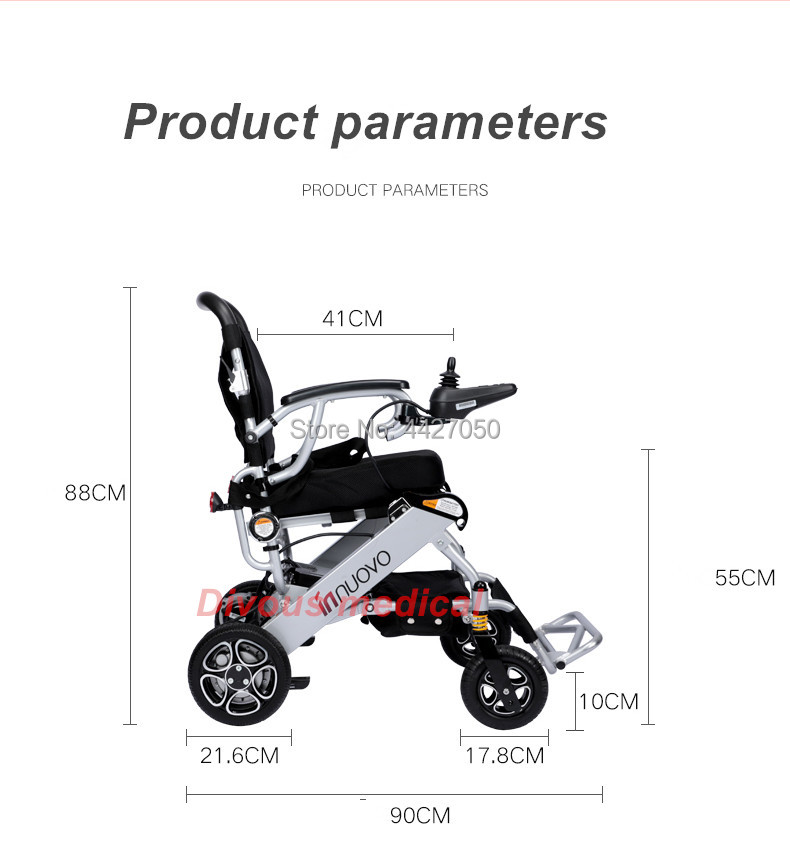 2019 N W 19 8KG Light weight aluminum alloy foldable portable folding electric wheelchair for old