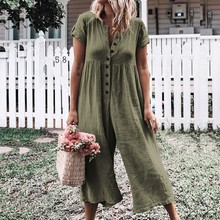 Plus Size Jumpsuit Summer Women 2019 Pants Green Casual Ladies Button Loose Cotton Rompers Womens 3XL 4XL 5XL