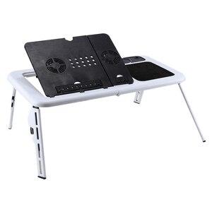 Image 1 - Scrivania pieghevole per Laptop scrivania pieghevole per Computer tavolo da tavolo e table ventole di raffreddamento USB supporto TV vassoio 22.05x12.44 pollici