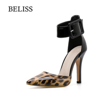 BELISS Women Sandals Fashion Leopard Patent Leather Woman 2019 Summer Buckle Sexy Ankle-Wrap Ladies Shoes High Heels S34