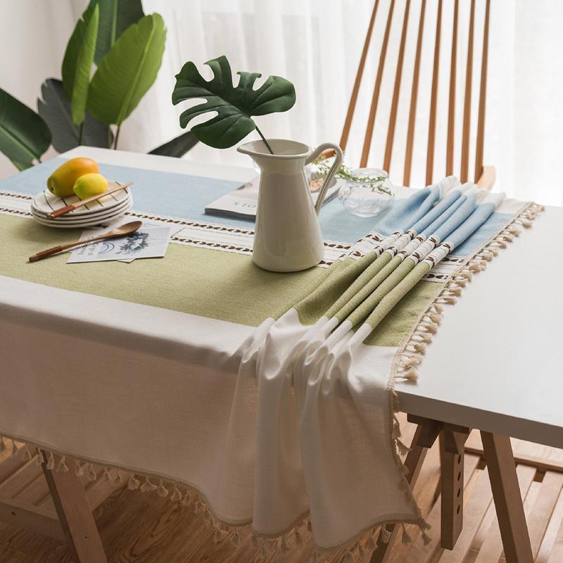 כותנה ופשתן קטן טרי מפת שולחן ספרותי סגנון עגול שולחן קפה שולחן אוכל מפת שולחן מלבני ספת ארון בד