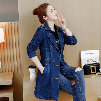 3323 Spring Autumn Double Breasted Denim Jacket Women Long Embroidery Jeans Jacket Plus Size