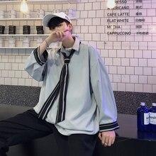 2019 primavera e verão modelos versão coreana da tendência solta casual juventude cor sólida camisa de manga comprida masculina