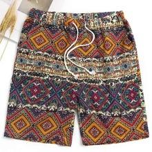 Shorts de Algodão de Praia Shorts Homens Bermuda Shorts Havaiano Tropical  Férias Soltos Corredores Calções BoardShorts 9805dd8836069