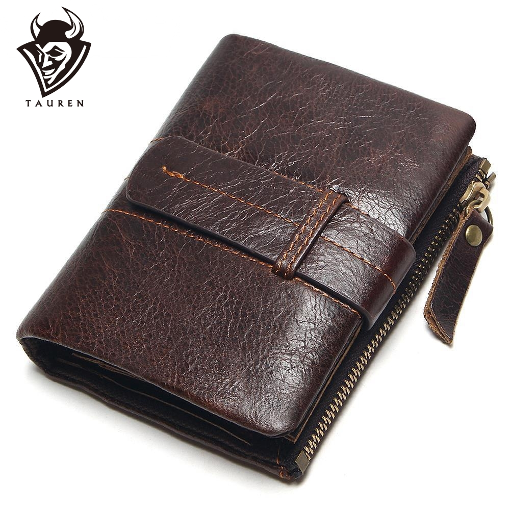 2019 Vintage Casual 100% Real cuero genuino aceite de piel de vaca hombres Mini carteras Holder Coin Purse Pockets Small Men Wallet Coin Purse