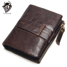 2017 Vintage Casual 100% Real Genuine Leather Oil Cowhide Men Mini Wallets Holder Coin Purse Pockets Small Wallet
