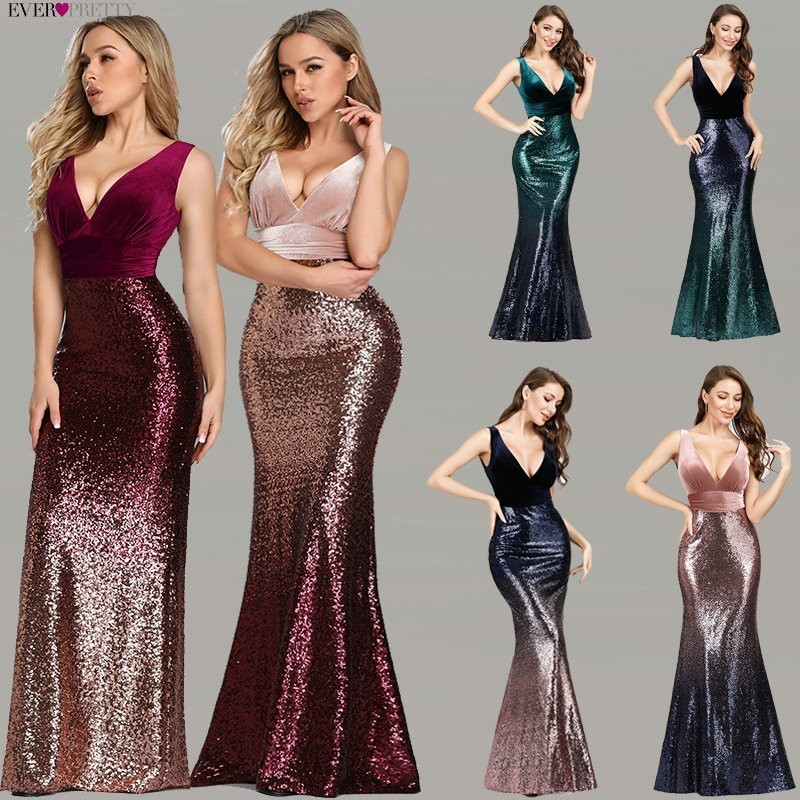Robe De Soiree Ever Pretty EZ07767 New Sexy V-neck Sleeveless Mermaid Burgundy Long Evening Dresses Elegant Abendkleider 2020