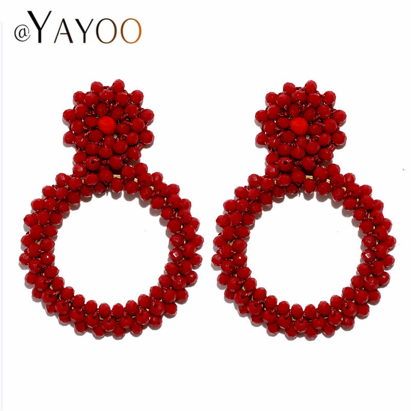 Perlen Große Ohrringe für Frauen Hochzeit Runde Schlenker Ohrringe Hängen Weibliche Aussage 2019 Boho Böhmischen Ohrring Schmuck Rot