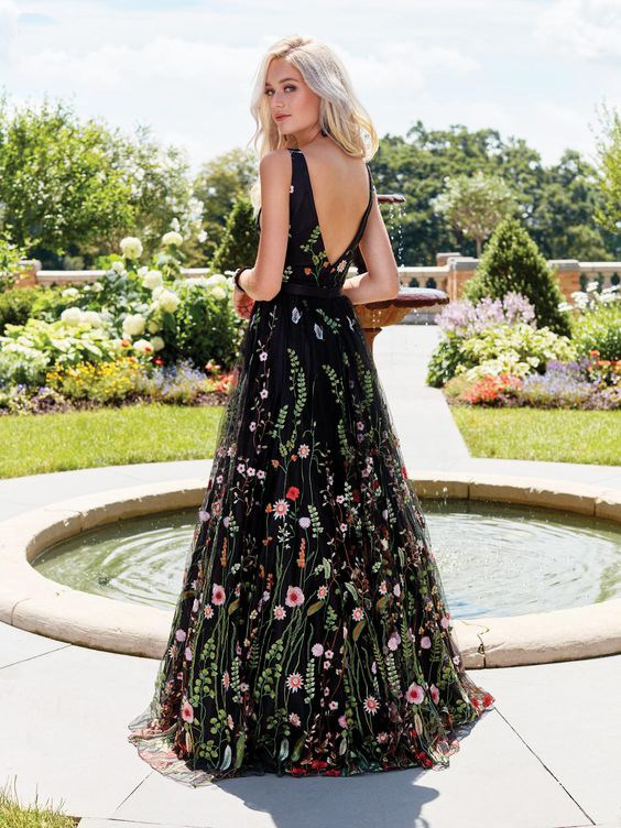 Casual Embroidery High Waist Flower Print Dresses Summer Black Mesh Deep V Neck Maxi Dresses Sexy Backless Long Dress Vestidos