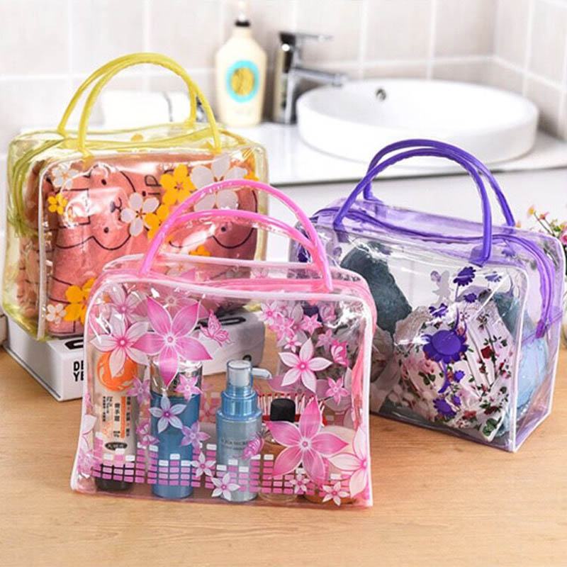 High Capacity Transparent PVC Floral Toiletry Bathing Storage Pouch Waterproof Make Up Organizer Cosmetics Bag