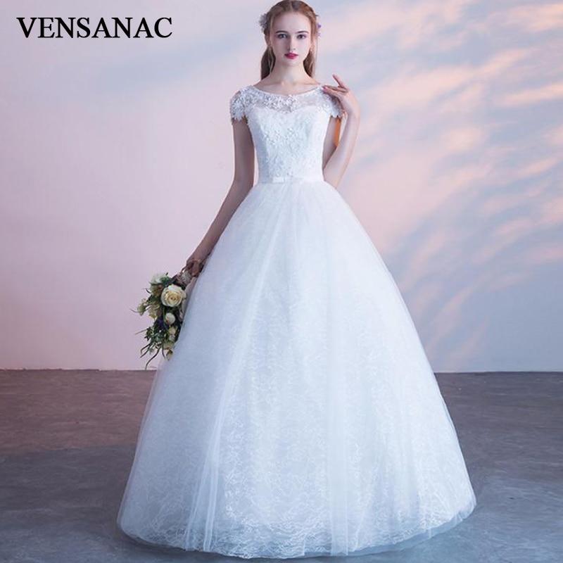 Wedding Gowns With Sashes: VENSANAC 2019 Illusion O Neck Bow Sash Ball Gown Wedding
