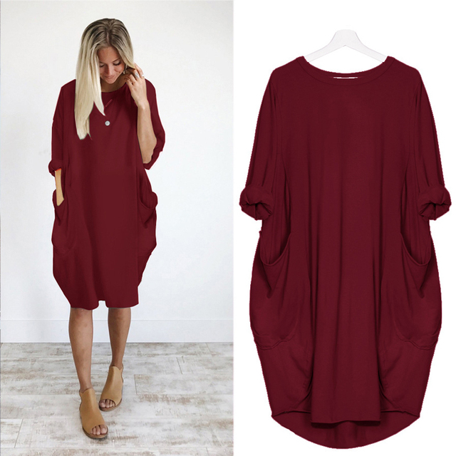 Women Casual Loose Dress with Pocket Ladies Fashion O Neck Long Tops Female T Shirt Dress Streetwear Plus Size 5XL vestidos 2