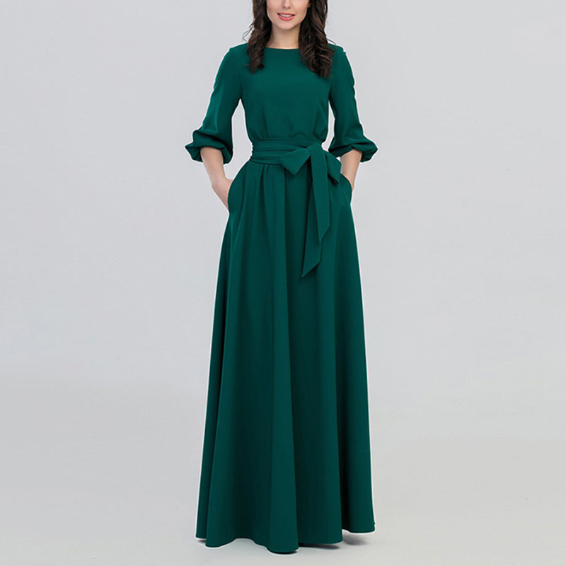 Spring Dress New Women Round Neck Boho Solid Color Pockets Sashes Belt Elegant Retro Lantern Sleeve A Line Party Long Maxi Dress