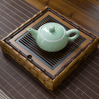 Quality Puer Tea Wooden Tray For Kung Fu Service Tea Set Vintage Teapot Trivets Drain Saucer Square Gongfu Storage Bamboo Cha