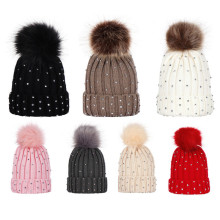 Fashion Rhinestone Baby Hat Winter Baby Girl Hat With Pom Pom Warm Knitted Newborn Beanie Cap Kids Girls Hats Cute Children Hats(China)
