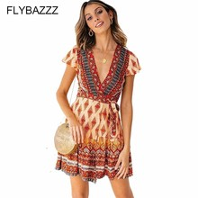 New Summer Womens Retro Floral Print Bikini Cover Up Boho Ruffle Dress Ladies Bandge Sexy V Neck Mini Beach Sundress