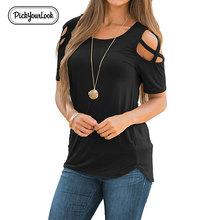 Pickyourlook Short Sleeve Women Blouses And Shirt Summer Casual Solid Ladies Tops Hollow Out Blusas