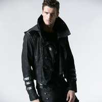 Punk Rave Men's Long Jackets Coats Steampunk High Collar Punk Leather Detachable Coats Casual Fashion Winter Male Trench Coat