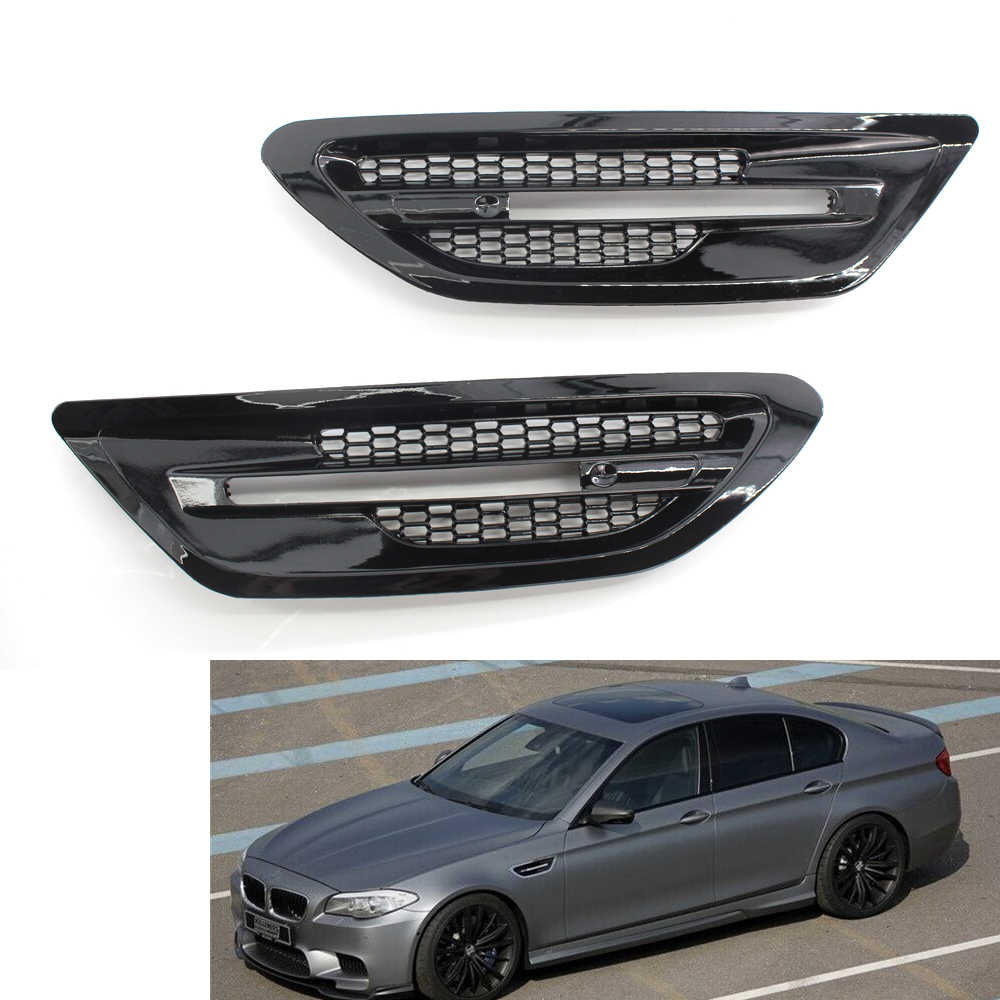 2PCS Glossy Black Air Flow Side Fender Vents Mesh Sticker Grille Compatible with BMW F10 M5 Sedan