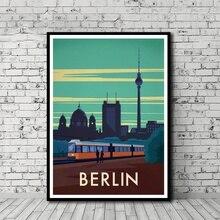 Vintage póster de viaje Berlin Poster lienzo impreso Arte de la pared Decoración sin marco