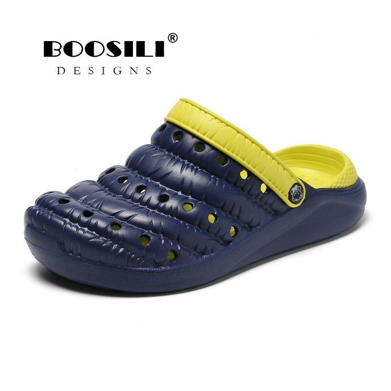 2019 Erkek Ayakkabi Mens Leather Sandal Mens Garden Shoes Summer Sandals High Quality Breathable Clogs Lightweight Big Size Shoes