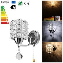 Wall Lamp crystal wall lamp LED Wall Light E14 crystal Modern American wall sconce bedroom corridor living room lights for home(China)