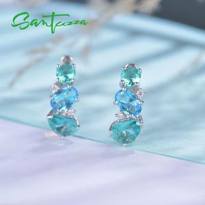 Image 4 - SANTUZZA ピアス女性 925 スターリングシルバースタッドピアススパークリンググリーンブルークリスタルトレンディなファッションジュエリー