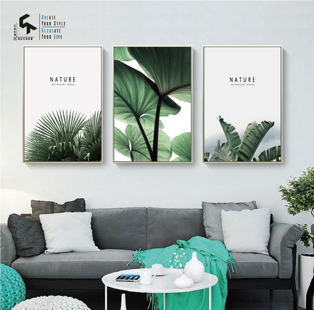 US $5 14 40% OFF|CREATE&RECREATE Nordic Poster Leaf Wall Art Canvas Oil  Painting Plant Posters And Prints Home Decoration Pictures CR1810110021-in