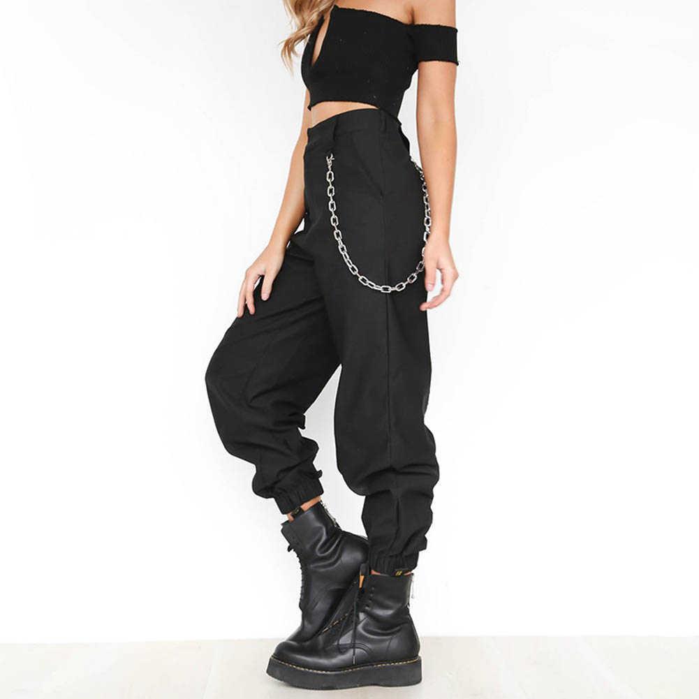 2018 moda cadena militar camuflaje mujeres camuflaje pantalones ejército negro cintura alta pantalones sueltos mujeres streetwear Jogger pantalones de chándal