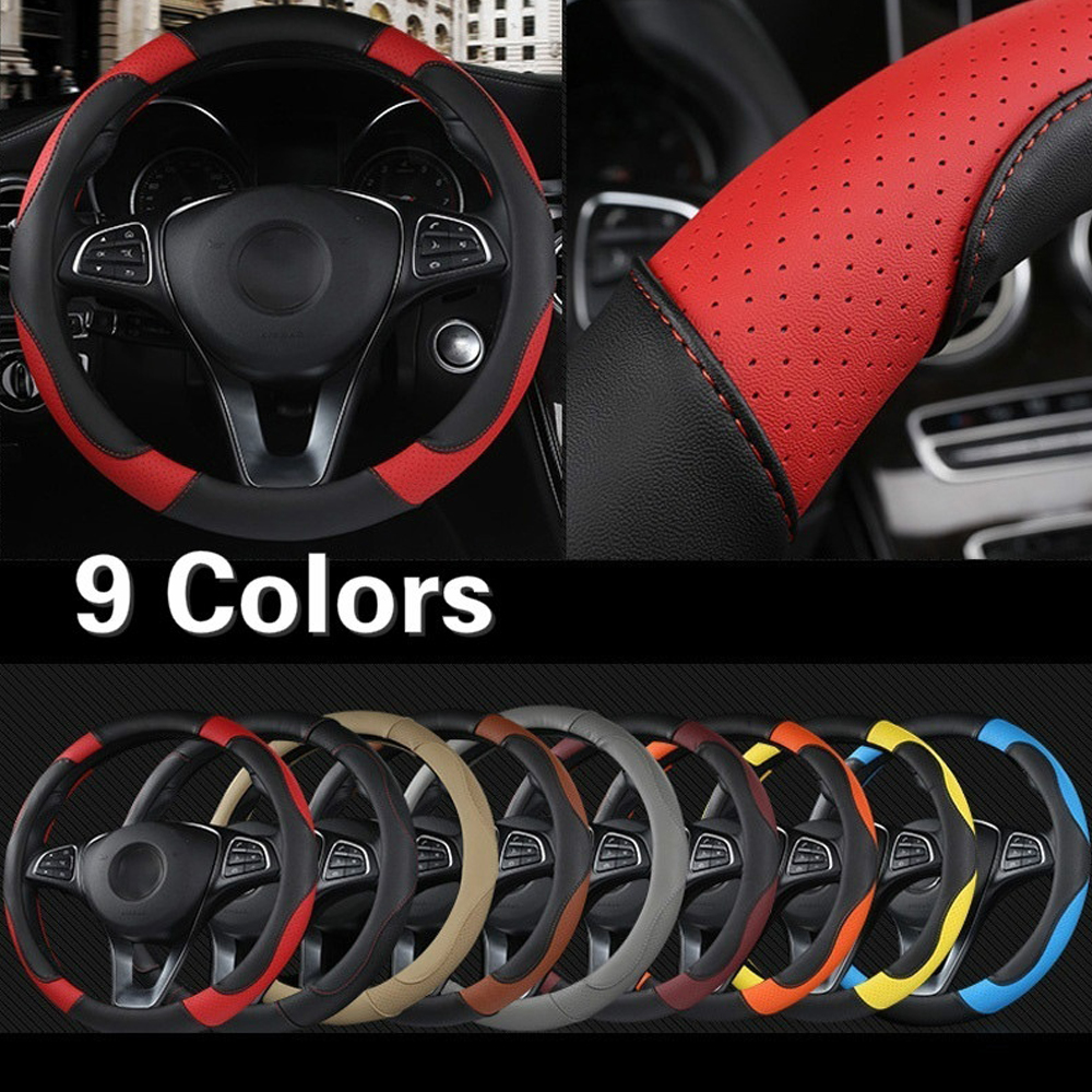 Non-slip Breathable PU Leatherette 15 Inch Car Steering Wheel Cover New