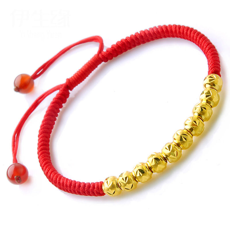 999 24K Yellow Gold Red Rope Weave With Gold Bead Bracelet 6.3999 24K Yellow Gold Red Rope Weave With Gold Bead Bracelet 6.3