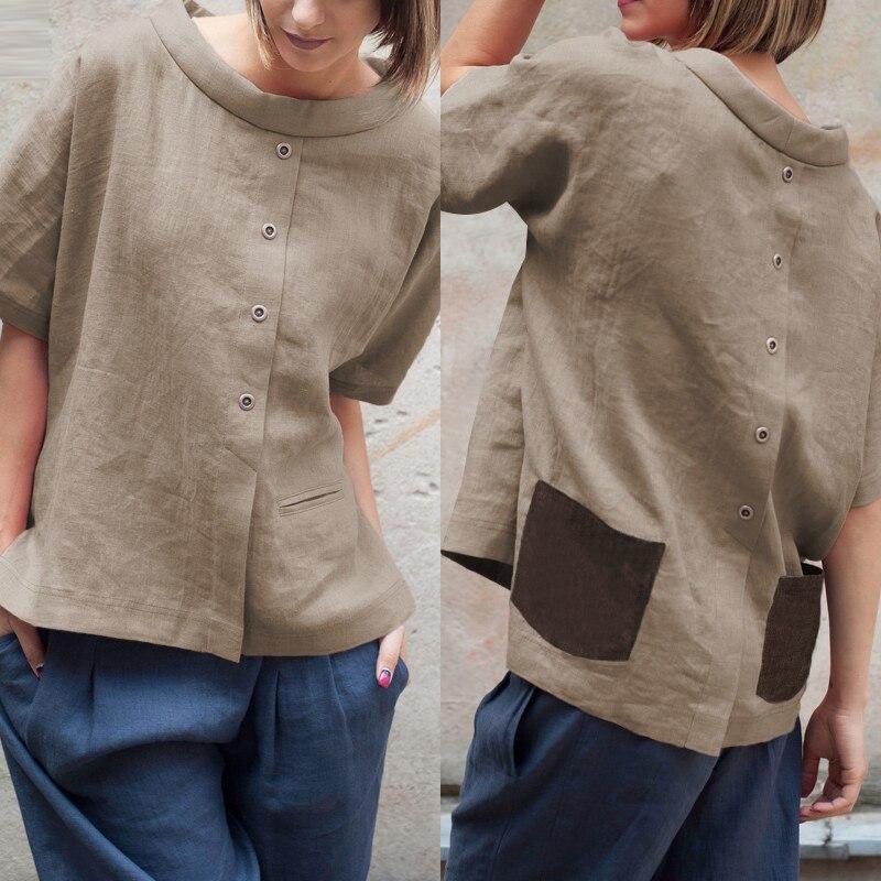 Celmia Oversized Vintage Cotton Tops Women Blouses 2020 Summer Short Sleeve Buttons Casual Shirts Pockets Loose Blusas Femininas