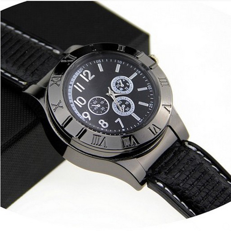 Cigarette Lighter Men's Quartz Watches USB Charge Electronic Windproof Flameless Casual Wrist Watches