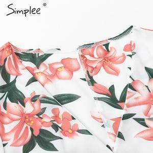 Image 5 - Simplee 自由奔放に生きる花柄女性プラスサイズショートドレスサッシフリルホリデーミニビーチドレス夏のエレガントなホワイトサンドレス