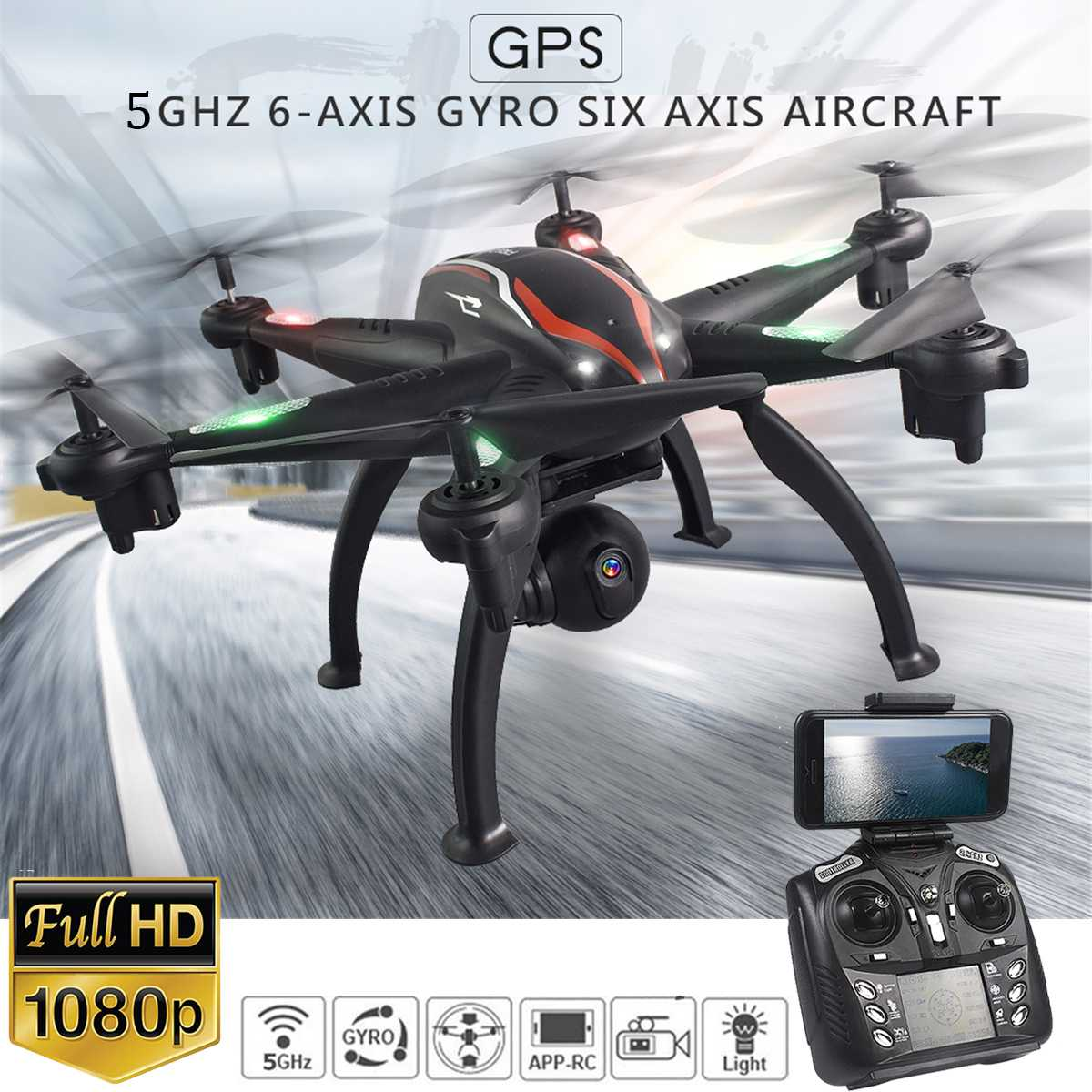 PULUZ RC Drone GPS 1080P Camera Smart Follow Mode 6 Axis Gyro Quadcopter Professional