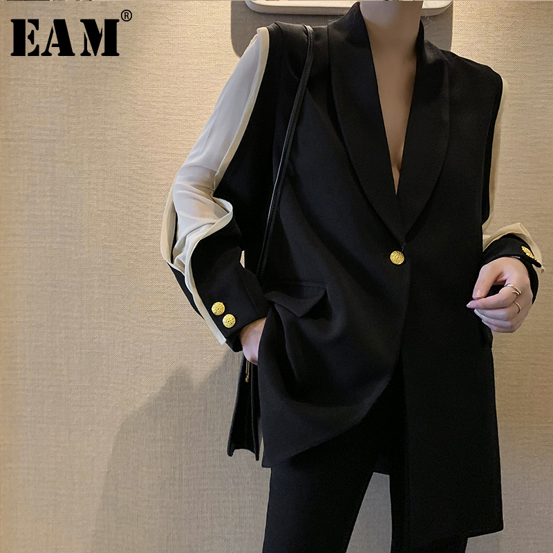 EAM 2019 New Spring Summer Lapel Long Sleeve Hit Color Split Joint Loose Temperament Jacket