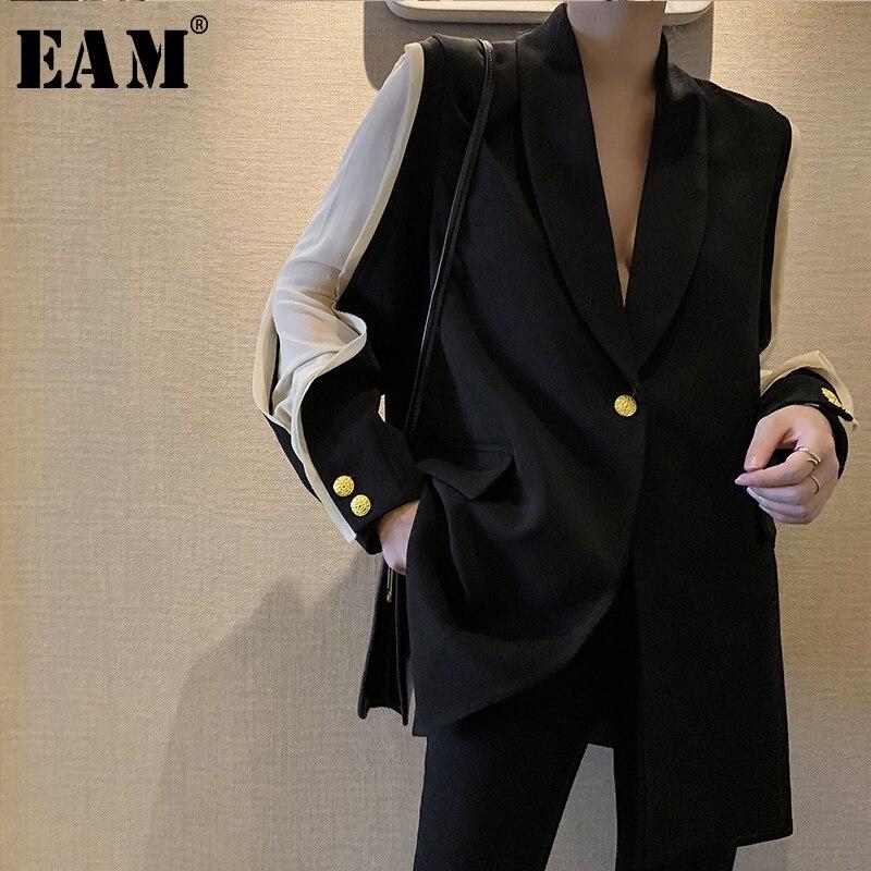 [EAM] 2020 New Spring Autumn Lapel Long Sleeve Hit Color Split Joint Loose Temperament Jacket Women Coat Fashion Tide JU298