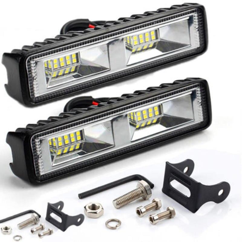 2 Pcs 18W 12V 16LED Car Work Light Bar Spot Beam Driving Waterproof Auto Fog Lamp For SUV Off-Road Daytime Running Lights