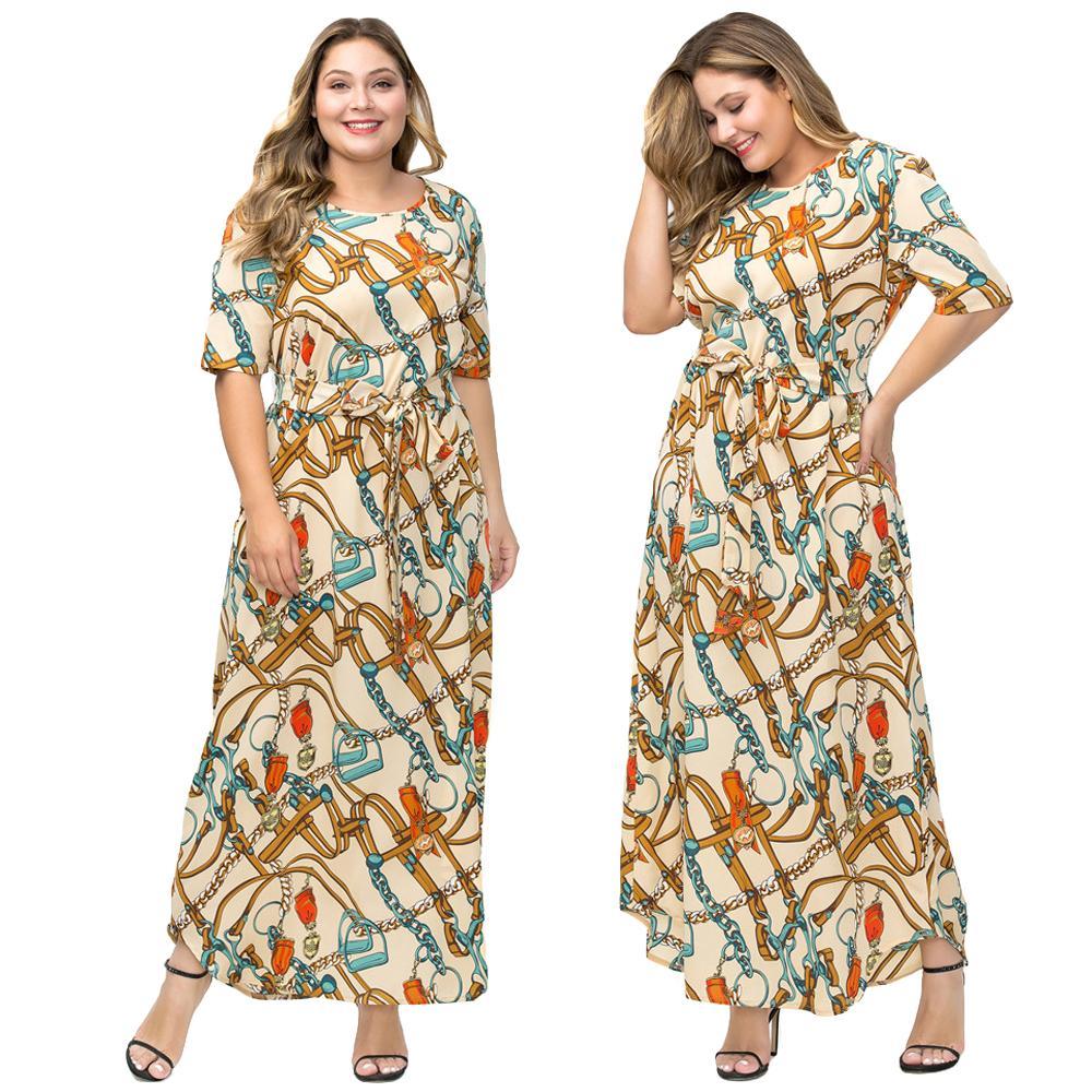 3b39f2e58870 Plus tamaño de la cadena impreso Maxi vestido largo estilo étnico mujeres  Boho Kaftan árabe bata ...