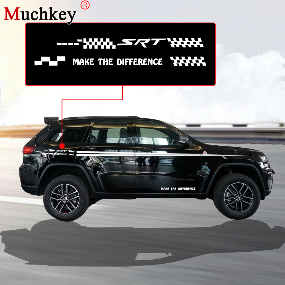 For jeep grand cherokee hatchback sedan suv decals car side body decal stickers diy decoration custom car decals sticker 280cm in car stickers from