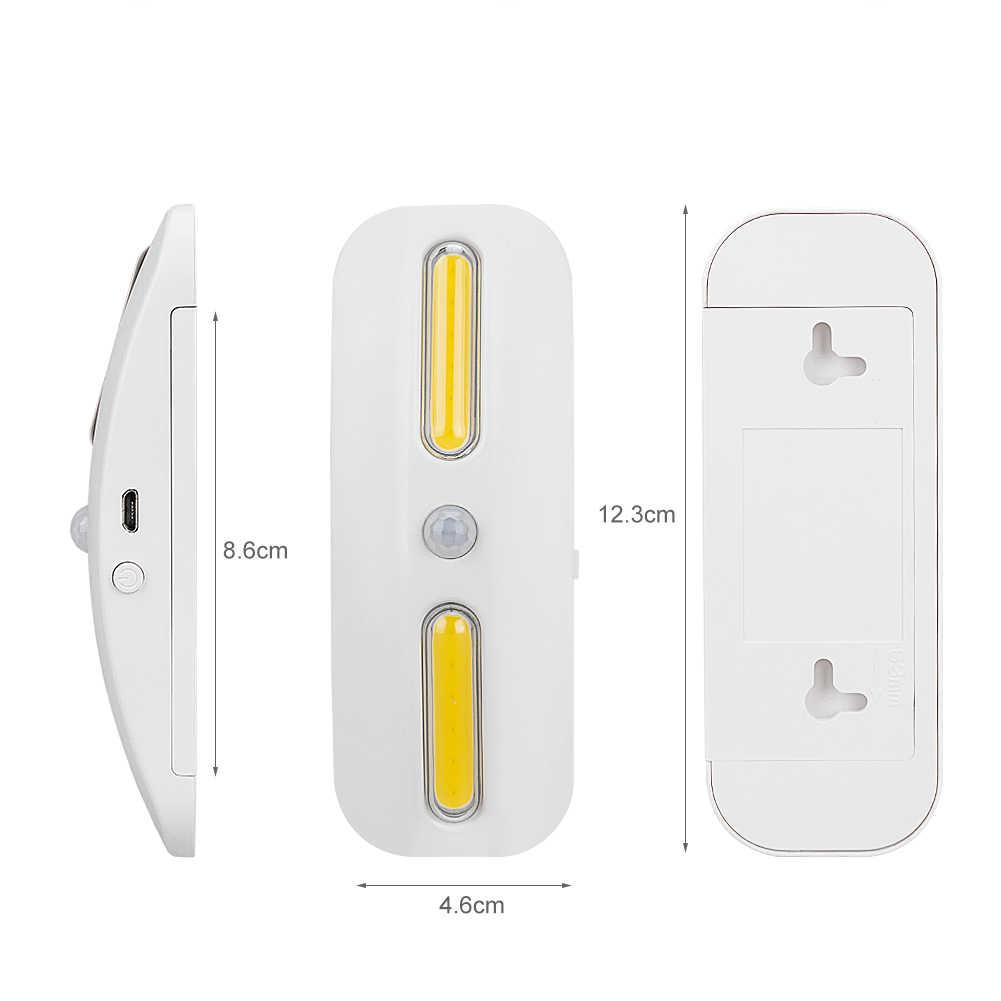 COB 2 светодиодный движения Сенсор свет перезаряжаеый ночник с разъемом USB свет лампы ABS светодиодный УФ фонарь + белый с клейкая лента 3M 50LM для коридора