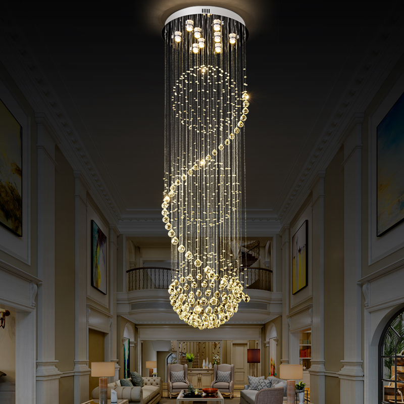 Long LED Spiral  Cystal Chandelier Indoor  Lighting  Fixture for Staircase Stair Lamp chandeliers crystal  Hotel Hall 110 220V|Chandeliers| |  - title=