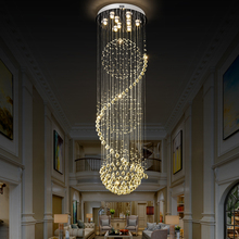 Long LED Spiral  Cystal Chandelier Indoor  Lighting  Fixture for Staircase Stair Lamp chandeliers crystal  Hotel Hall 110-220V