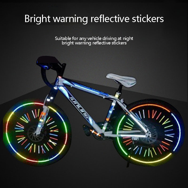 Mountain Bike Reflective Sticker Safety Warning Bicycle Motorcycle Body Fluorescent Luminous Strip Sticker Equipment Accessories