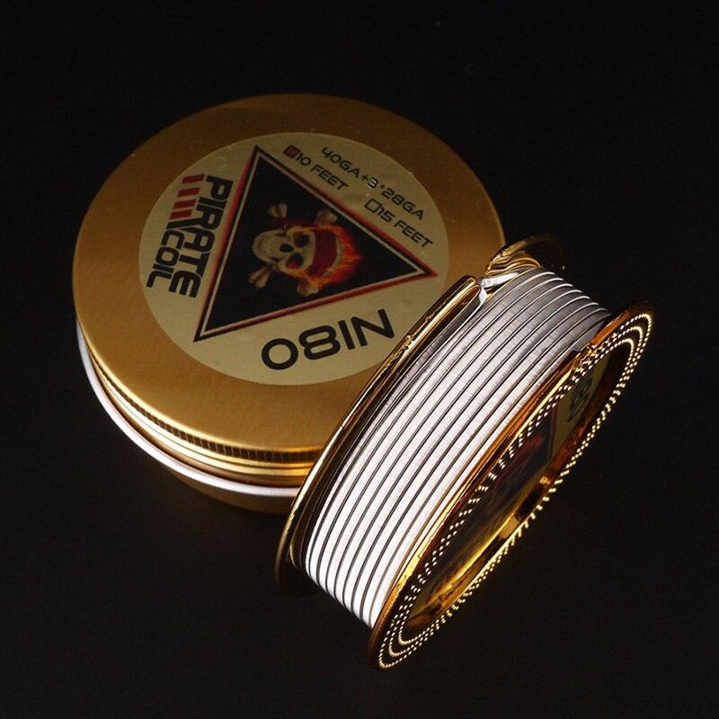 PIRATE COIL Fashion Accessories Ni80 Heating Wire Pirate 3 Core Clapton Fancy Heating Wire For Electronic Cigarette 3m 40GA+3*