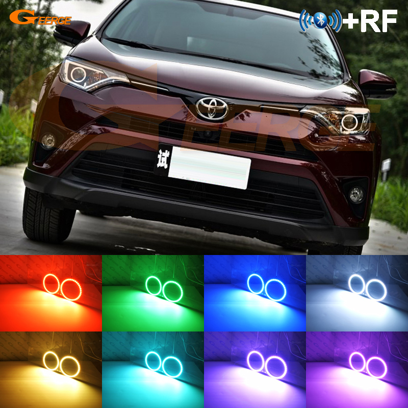 For Toyota Rav4 2016 2017 Excellent RF Bluetooth Controller Multi Color Ultra bright RGB LED Angel