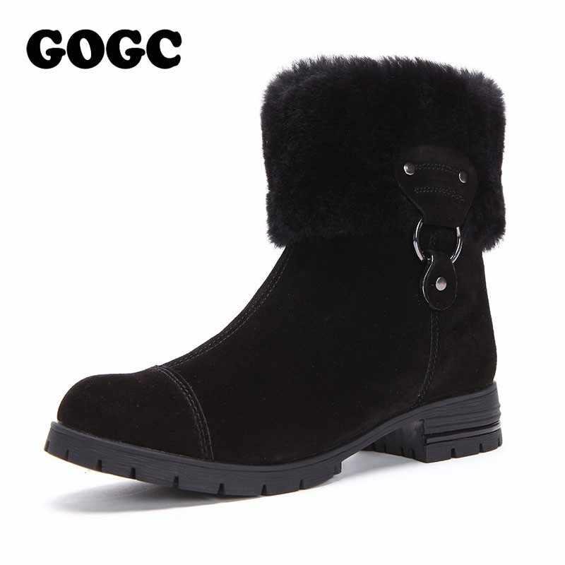GOGC 100% Hakiki Deri Kadın Kış Ayakkabı Kürk Yün Büyük Boy Orta Buzağı Çizmeler yarım çizmeler Kadınlar Kışlık Botlar için kadınlar 9823